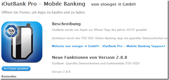 iOutBank Pro - Mobile Banking für iPhone  iPod touch und iPad im iTunes App Store gratis